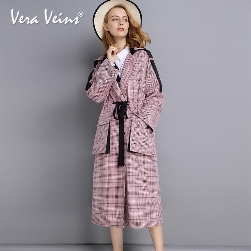 粉色格纹风衣外套2018秋季新款复古百搭名媛气质中长款长袖女装