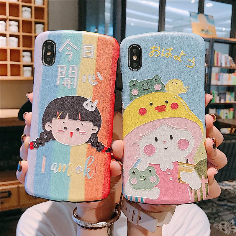小蛮腰今日开心卡通女孩iPhone11 Pro Max8plus苹果X手机壳iP12-04新券