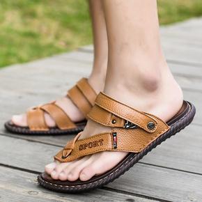 凉鞋男士2020新款夏季开车人字拖个性时尚真皮凉拖鞋两用潮流软底