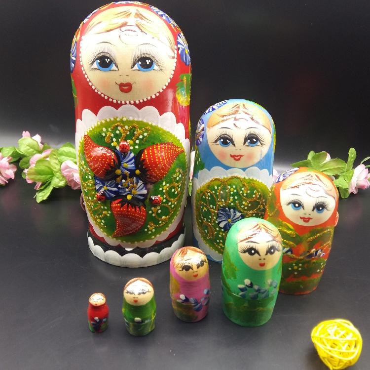热卖俄罗斯套娃进口7层烤漆草莓套娃优质椴木家居摆件纪念品包邮