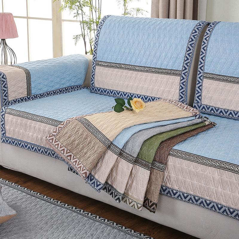 九只猫粗麻四季沙发垫子防滑布艺真皮实木沙发坐垫夏季防滑沙发套