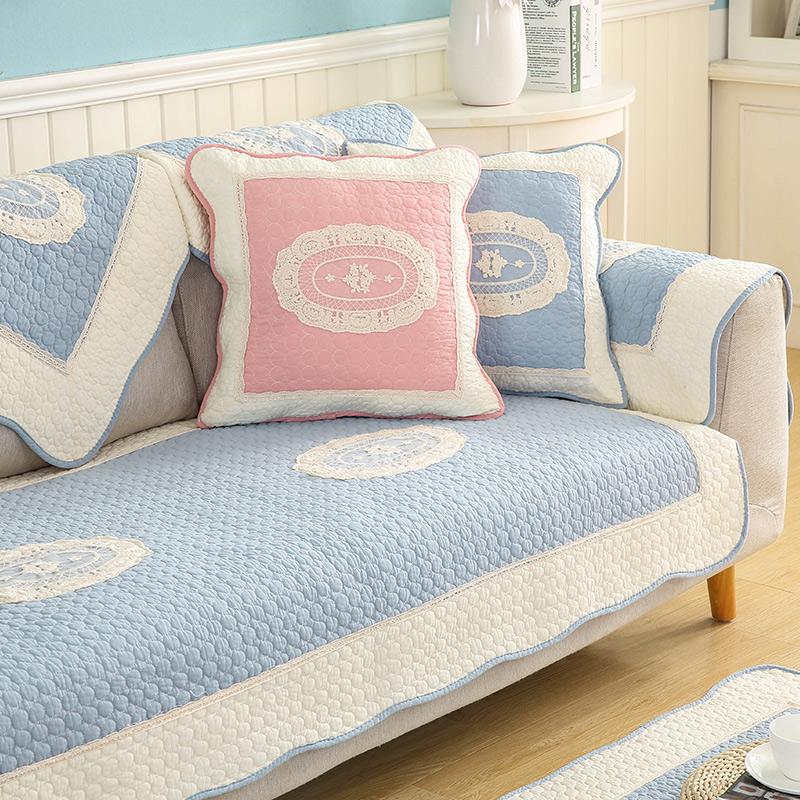 九只猫现代简约纯棉沙发垫北欧全棉防滑布艺沙发坐垫地垫沙发巾