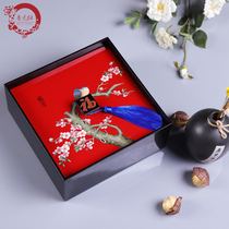 Jin Yuanheng wooden hand-painted split with dried fruit snack candy box square flower and bird creative fruit basket