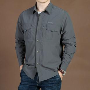 秋季男装户外宽松大码多袋长袖衬衫男士吉普盾休闲速干衬衣男潮品牌