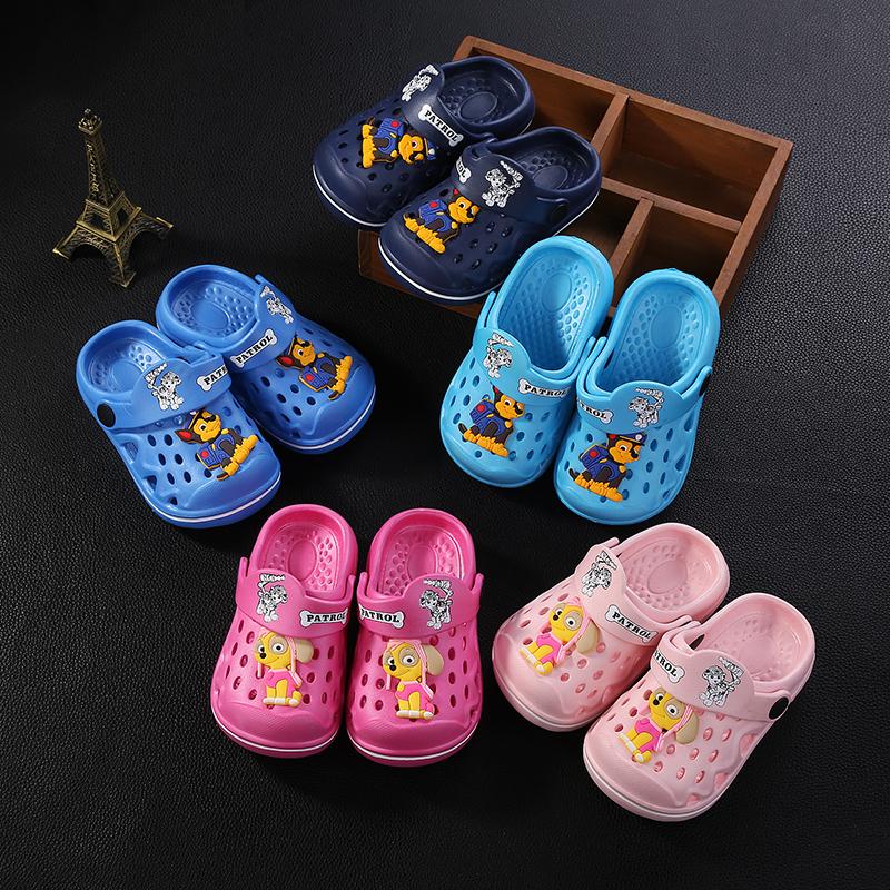 卡通可愛兒童拖鞋夏季女童汪隊小孩包頭涼鞋防滑男童沙灘鞋洞洞鞋