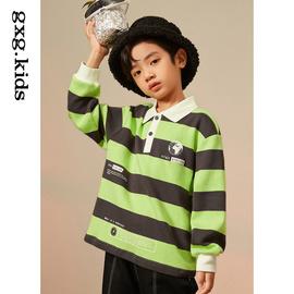 [商场同款]gxgkids童装男童长袖T恤冬儿童撞色条纹长袖polo衫打底