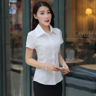 韩版女短袖新款潮职业装修身白衬衫