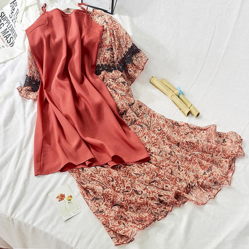 限3000张券2019夏季新款套装雪纺连衣裙女喇叭袖蕾丝吊带印花两件套女6610