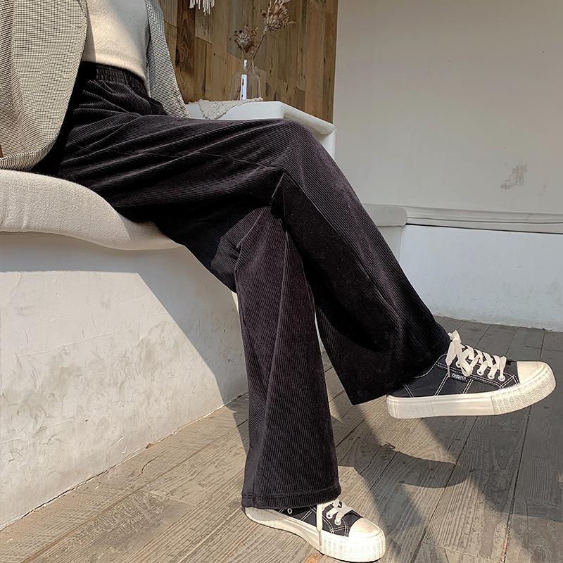 灯芯绒阔腿裤女秋冬加绒高腰垂坠感宽松直筒条绒休闲金丝绒拖地裤图片