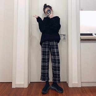 黑白色格子裤女宽松直筒高腰垂感日系夏季薄款大码显瘦休闲阔腿裤