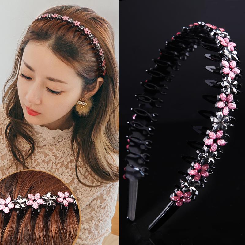 韩国带齿防滑发箍成人简约水钻发卡可爱清新压发头窟洗脸头饰品女