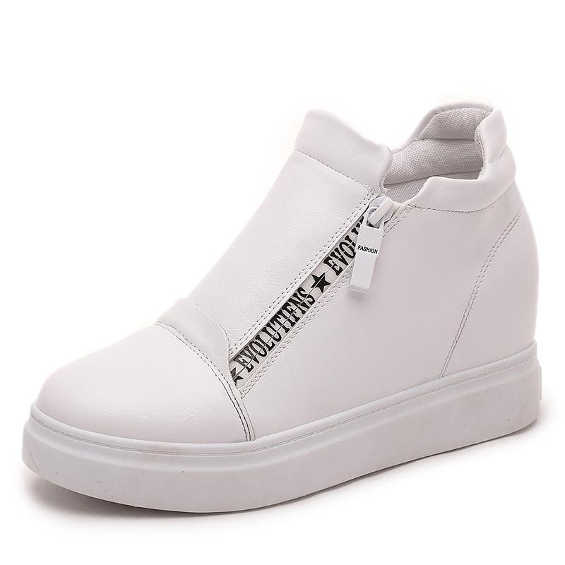 2016 樂福女單鞋內增高女鞋 鞋坡跟厚底小白鞋鬆糕單鞋