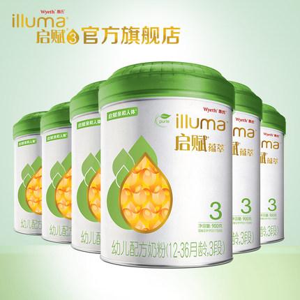 """illuma惠氏启赋有机3段900g*6罐1-3岁进口""""全乳糖""""幼儿配方奶粉"""