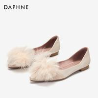 Daphne/达芙妮春新款时尚尖头中空奥赛鞋低跟套脚平底休闲女单鞋