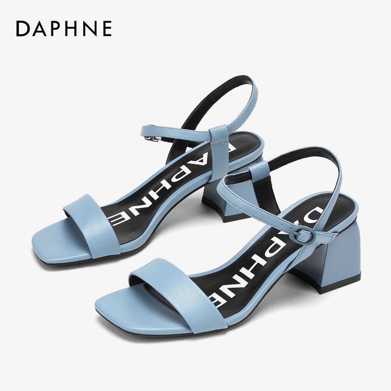 Daphne/达芙妮夏新款欧美时尚简约一字带优雅通勤方头高跟凉鞋女