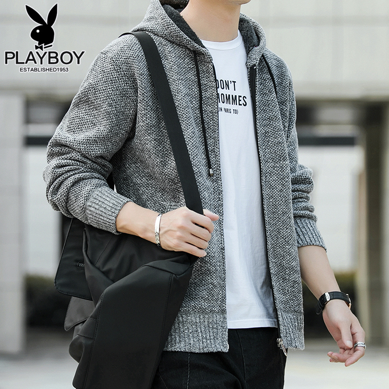 Playboy Korean version of the trendy sweater men's 2021 spring and autumn new men's spring casual hooded jacket men's trend