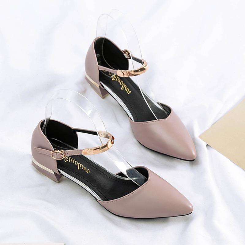 涼單鞋2020春季款尖頭一字扣中跟粗跟淑女仙女平底晚晚溫柔風鞋子