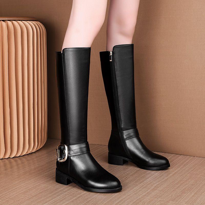 不过膝女平底复古棕色机车靴冬靴子图片