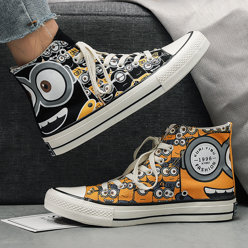 Spring new high Gang mens shoes lovers Korean version ulzzang trend student print graffiti canvas shoes 7665