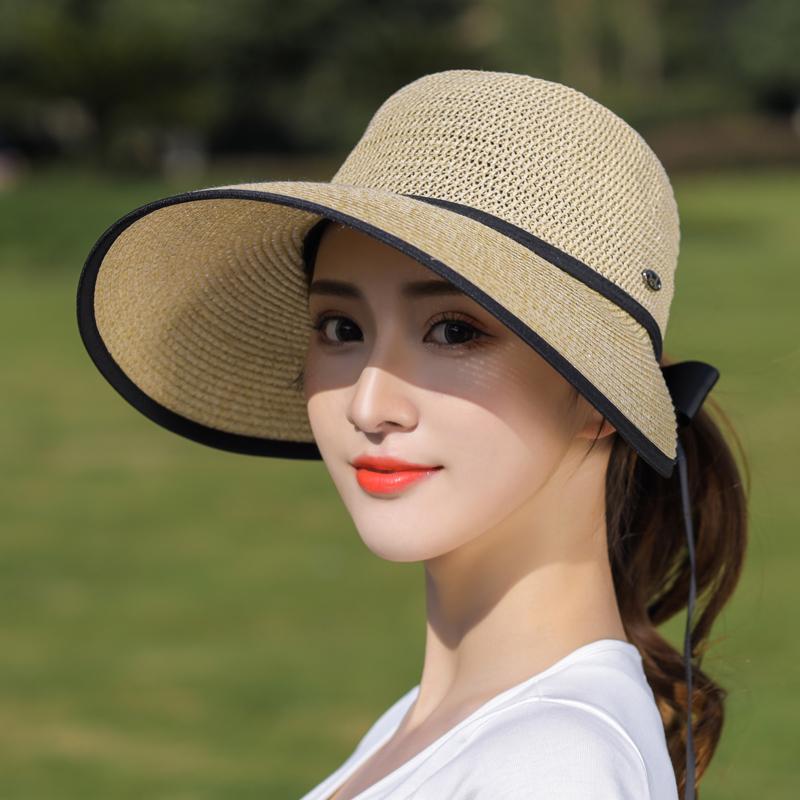 大沿可折叠草帽女夏天韩版百搭防晒帽遮脸太阳帽户外出游遮阳帽潮