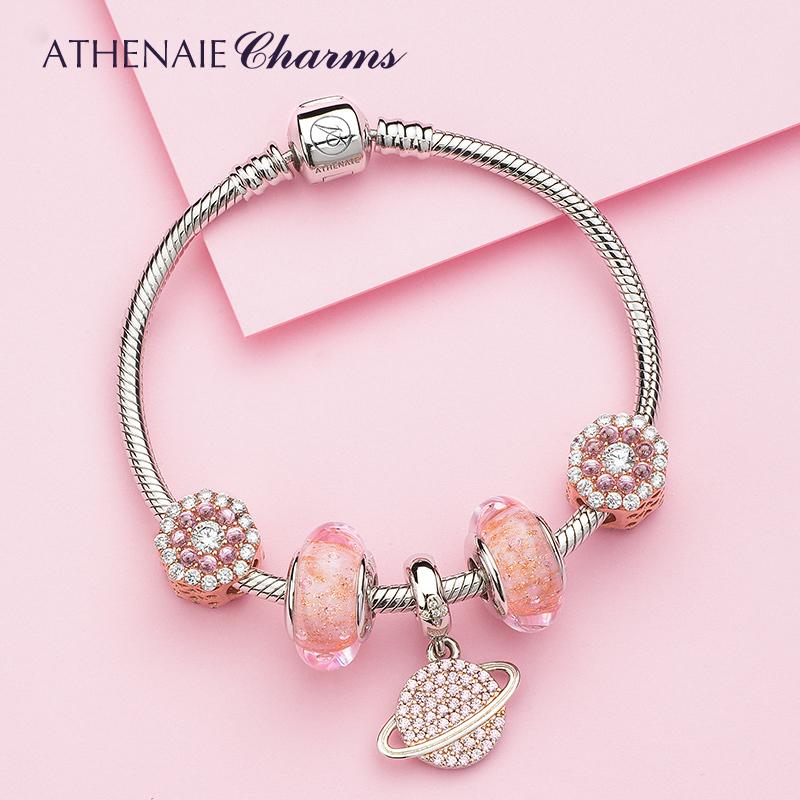 10月10日最新优惠粉色星球925银手链ins小众设计琉璃珠水晶手链情侣女款潘家手链