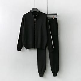 针织毛衣女两件套2020秋装新款时尚拉链运动休闲修身韩版外套套装图片