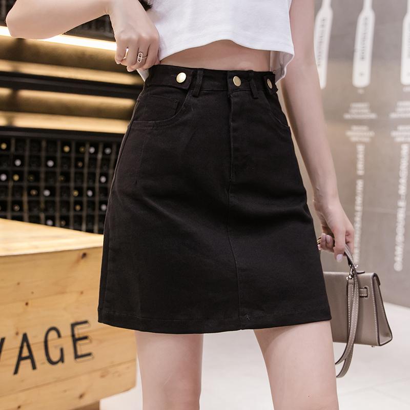 实拍牛仔短裙a字裙女夏季新款包裙高腰显瘦包臀裙裤春装半身裙子