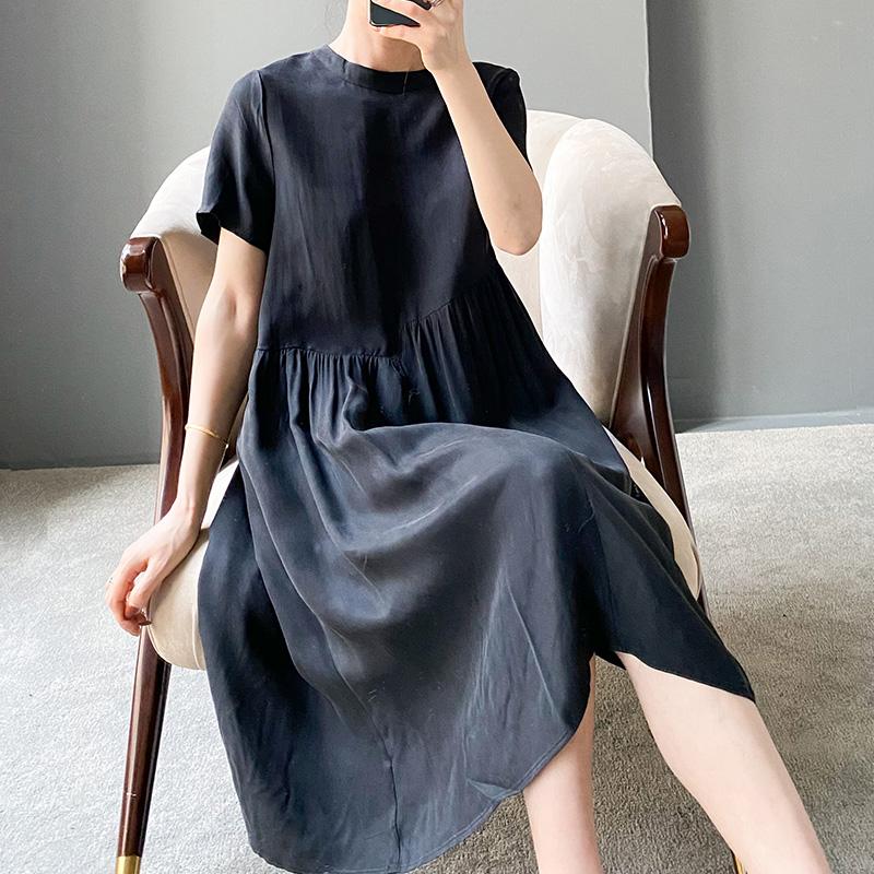 高端重磅铜氨丝连衣裙女夏新款小个子宽松减龄中长裙高腰冰丝裙子