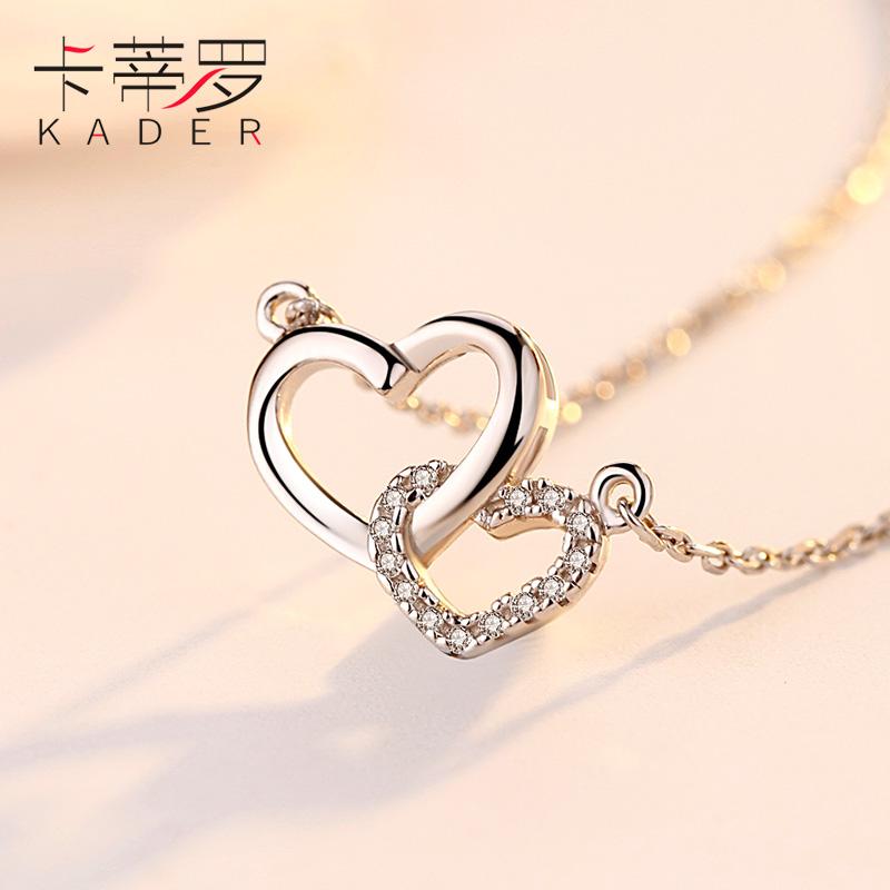 卡蒂罗纯银双心项链女士锁骨链桃心心相印吊坠爱心生日礼物送女友