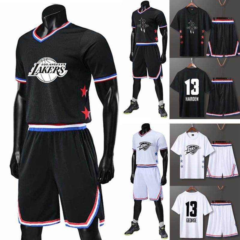 bxdоnba2019短袖全明星篮球服套装男女款定制詹姆斯哈登欧文球衣