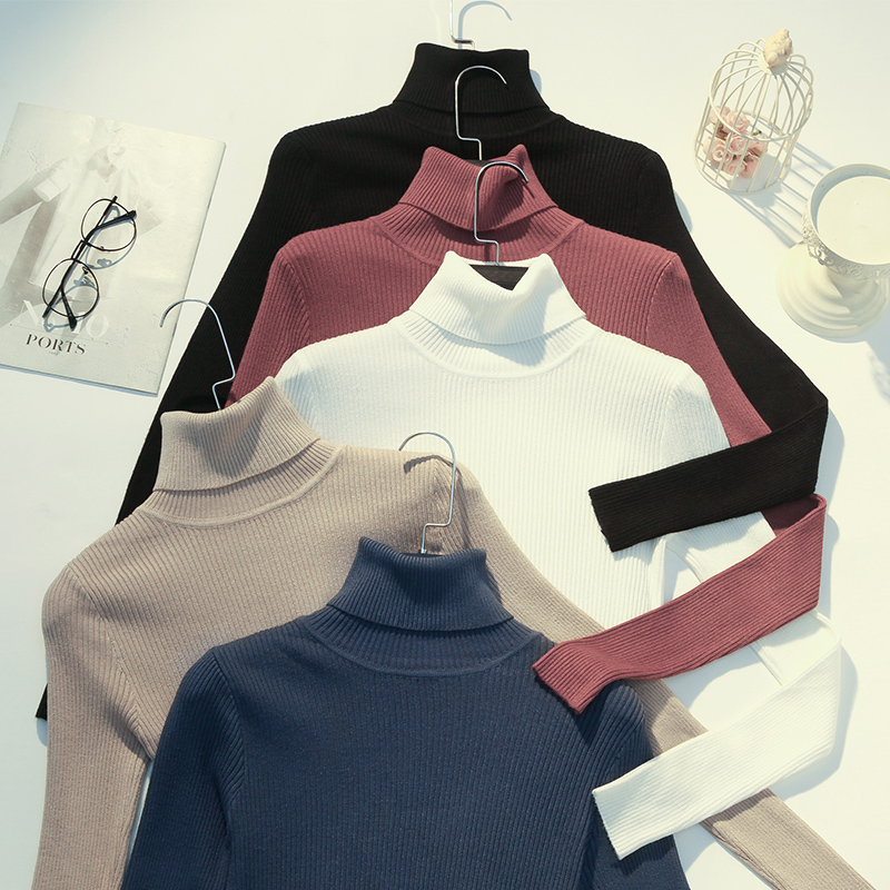 套头毛衣秋冬新款紧身打底衫女长袖内搭上衣针织衫半高领修身加厚