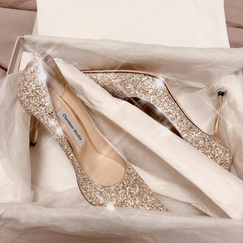 法式秀禾主婚纱两穿新娘水晶礼服2021年款亮片高跟订婚鞋子女细跟