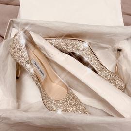 法式秀禾主婚紗兩穿新娘水晶禮服2021年款亮片高跟訂婚鞋子女細跟圖片