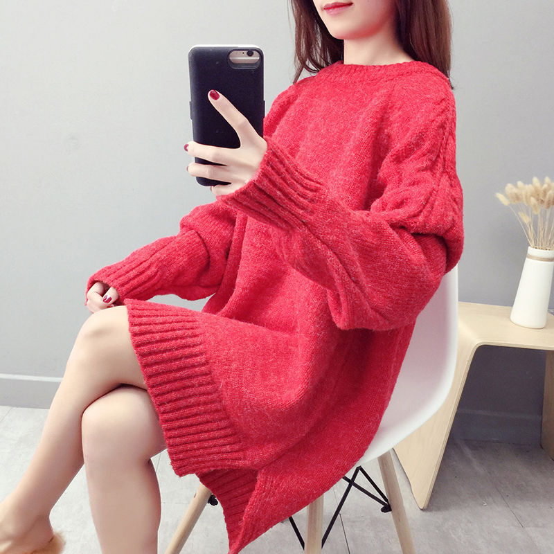 Christmas red wool dress womens middle and long loose cover head autumn winter thick 2018 new very fairy thick wool