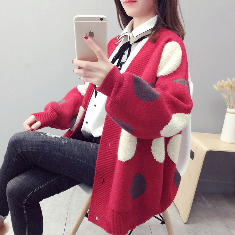 Very fairy sweater coat womens middle and long net red Korean version loose spring 2019 new top foreign style knitwear fashion