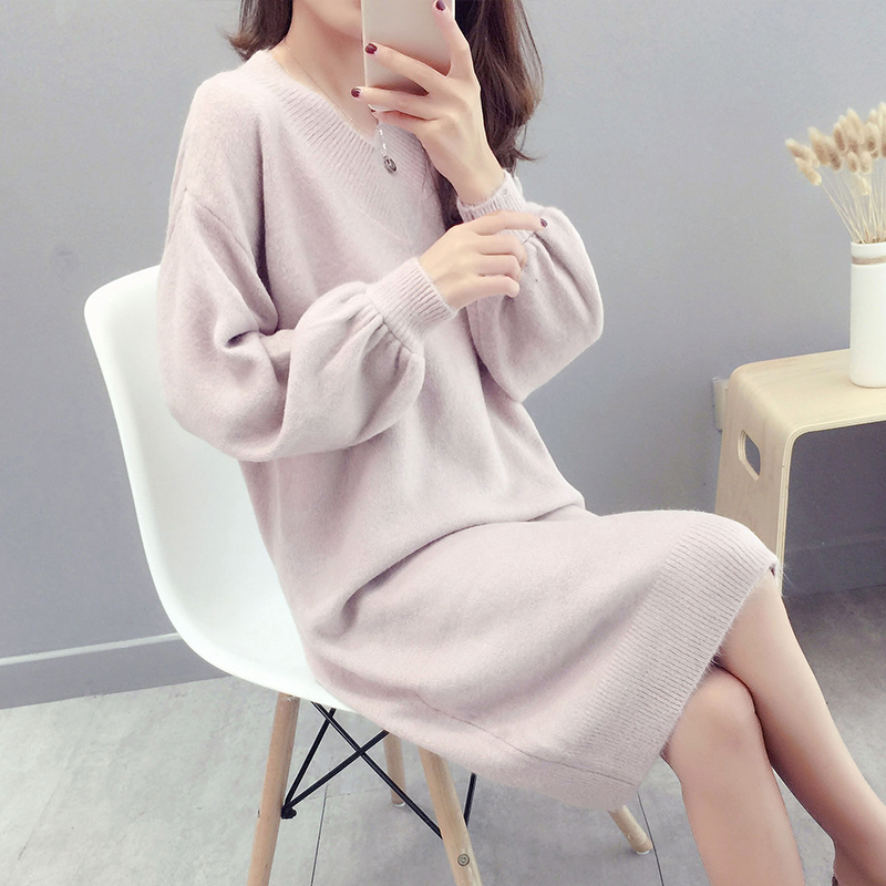 Long wool skirt over the knee autumn dress womens 2018 new Korean loose style students autumn and winter thickened knitwear backing