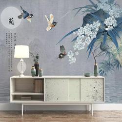 新中式3D电视机背景墙壁纸兰花墙布客厅卧室古典手绘花壁画墙纸