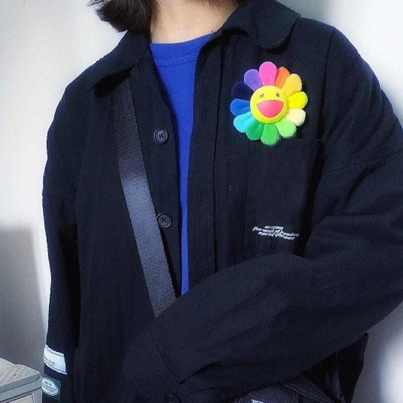 Japanese fashion personality cute Trinket pin female button decoration creativity versatile sunflower brooch.