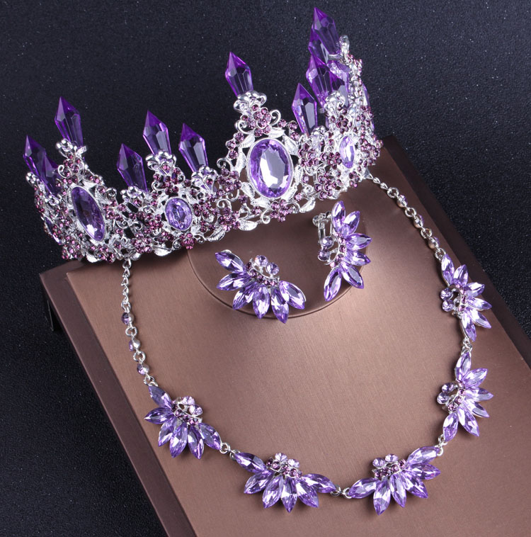 水晶柱皇冠项链耳环三件套包邮高贵典范新娘饰品浪漫紫色系列