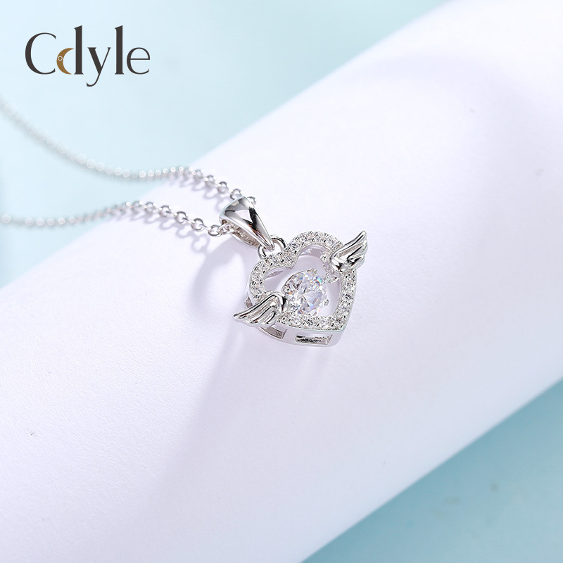Crossfor authorized angel wings S925 Sterling Silver Necklace womens Korean version smart zircon beating heart lock bone chain