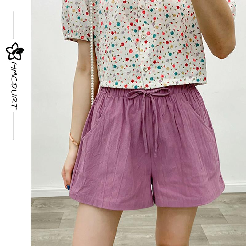 Picturesque garden 2020 summer new versatile waist casual pants pink Wide Leg Pants Cotton hemp shorts womens loose