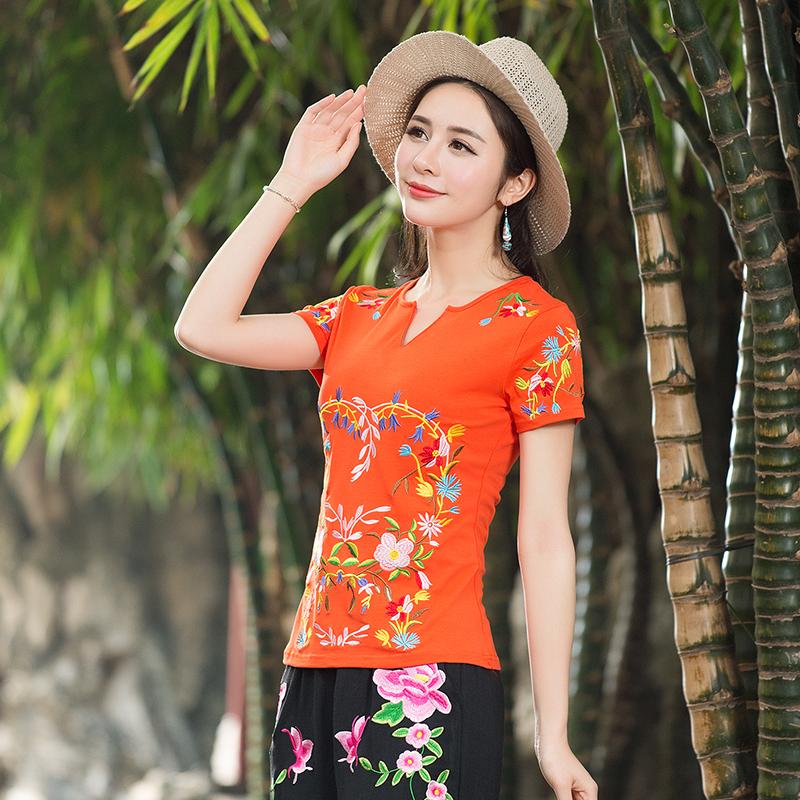 特价大码女装绣花民族风女装精绣特色刺绣小V领女T恤短袖修身上衣