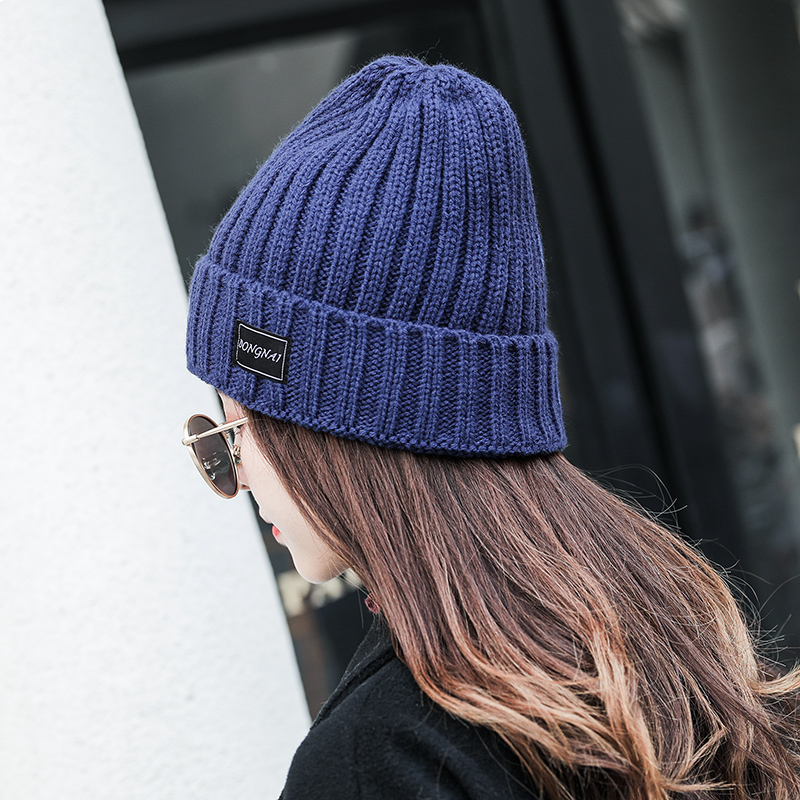 Cap female autumn and winter Korean fashion warm wool month cap winter student versatile ins flanging knitted cap male