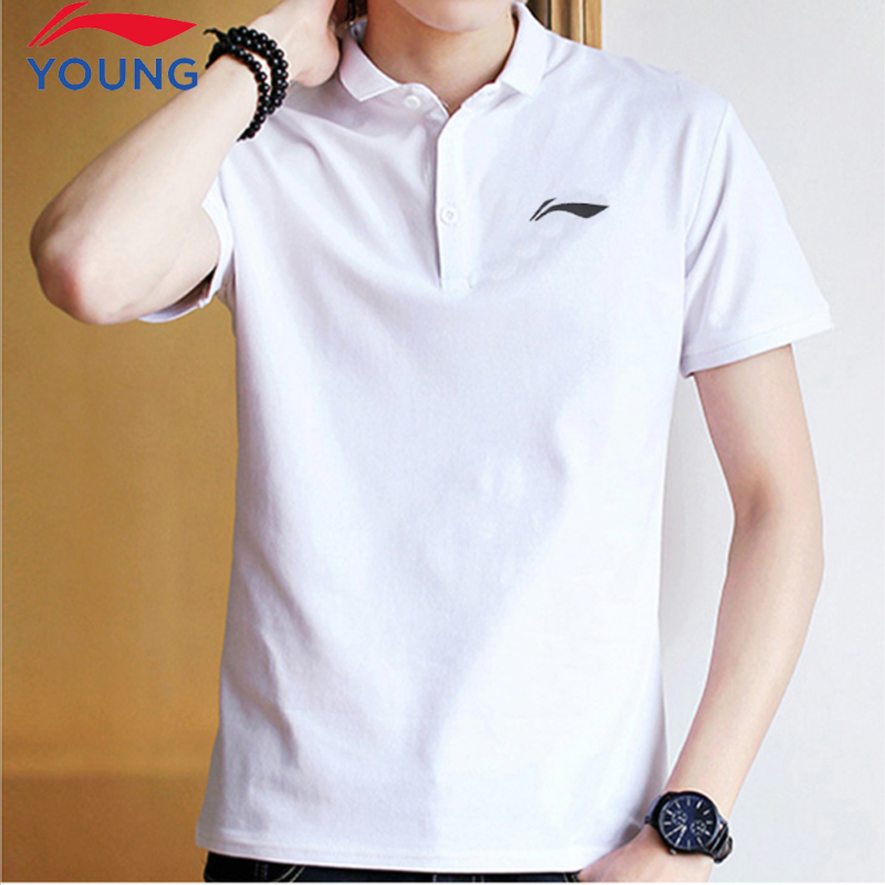 Li Ning short-sleeved flagship official website men and summer new cotton couple men and women polo shirt transmissions sports black and white T-shirt half sleeve