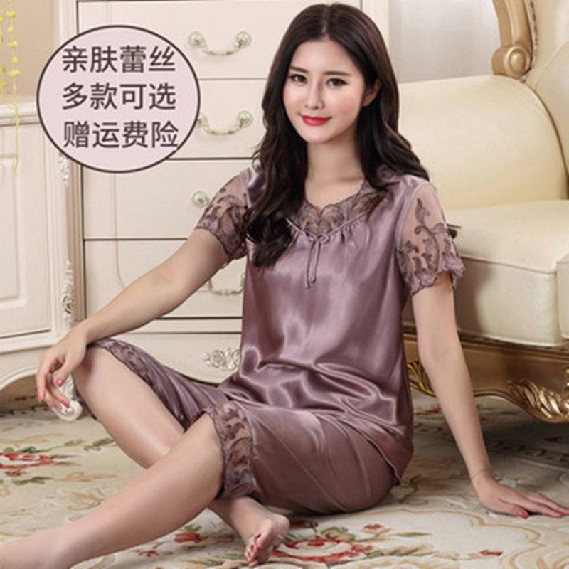 品牌春秋夏睡衣女冰丝绸套装短袖七分裤薄款冰丝睡衣中年妈妈长袖