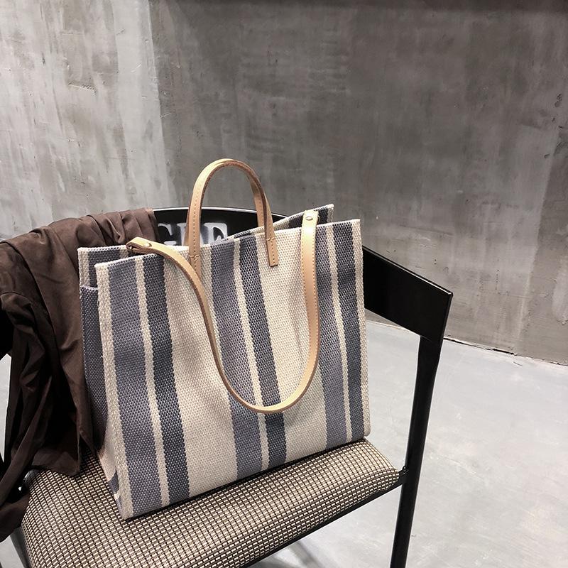 Summer 2020 new Korean stripe environmental protection Tote Bag Canvas womens handbag fashion messenger bag single shoulder bag womens bag