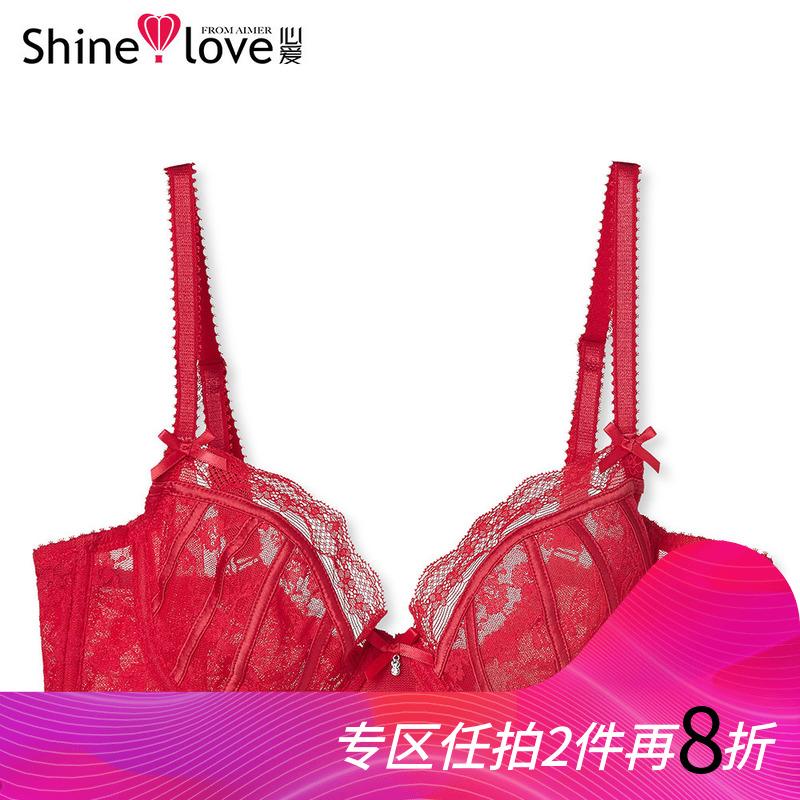 爱慕集团心爱品牌本命年胸罩性感薄杯蕾丝文胸女士透视红色内衣