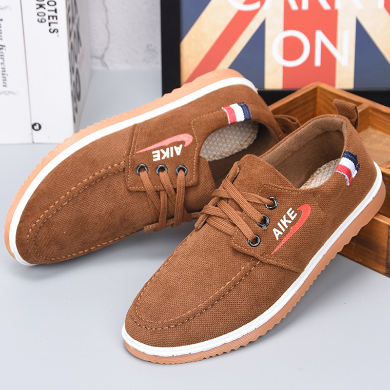Old Beijing cloth shoes with ox tendon bottom spring and autumn Korean leisure fashion mens father shoes flat bottom non slip canvas student shoes