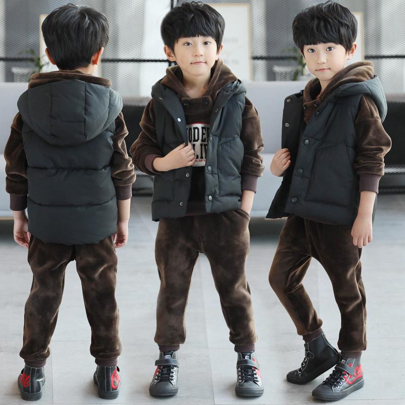 童装男童冬装套装2017新款加绒儿童双面金丝绒加厚卫衣三件套冬季