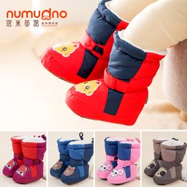 婴儿步前鞋0-6-12个月不掉男女宝宝棉鞋秋冬加绒保暖学步高帮加厚图片